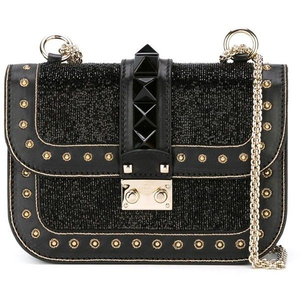 Valentino Garavani 'Glam Lock' sequin shoulder bag (£1,925) ❤ liked on Polyvore featuring bags, handbags, shoulder bags, black, black purse, chain handle handbags, valentino purses, sequin handbags and black sequin handbag