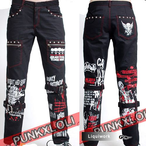 Men Women Black Studded Steampunk Punk Emo Casual Pants Trousers SKU-11404034