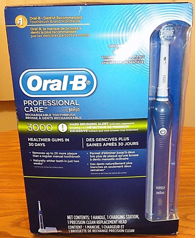 Braun Oral B Professional Care 3000 Electric Rechargeable Toothbrush New Braun Electric Toothbrush Brushing Teeth Oral B