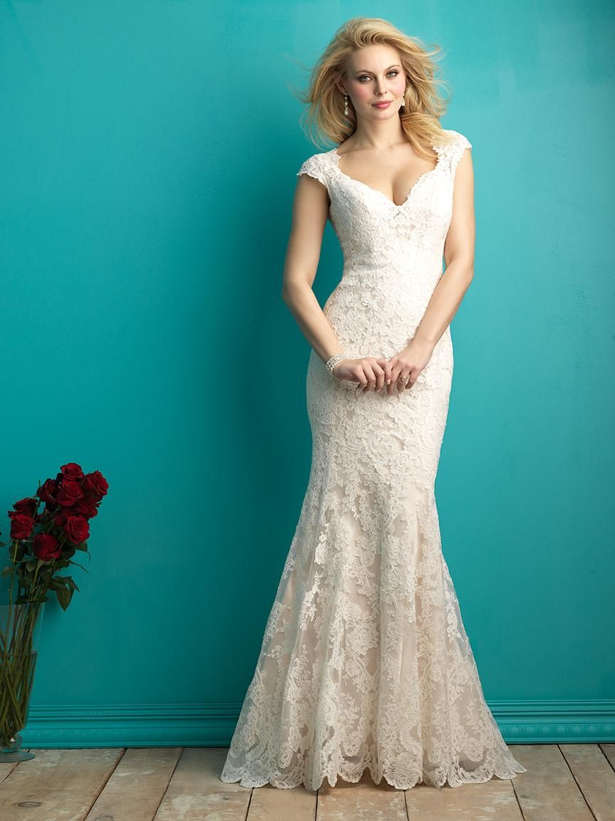 Lace and satin mermaid wedding dress v neckline with cap sleeves