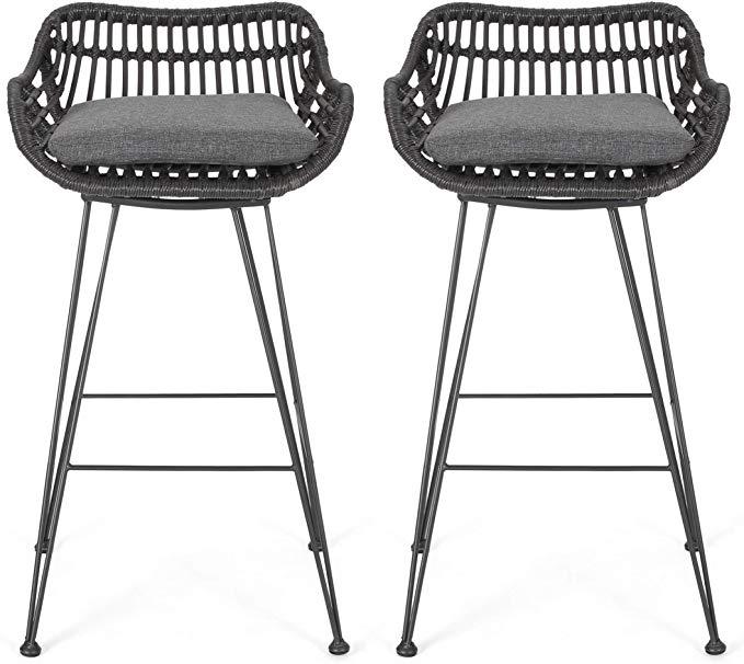 Amazon Com Great Deal Furniture Lisa Outdoor Wicker Barstools