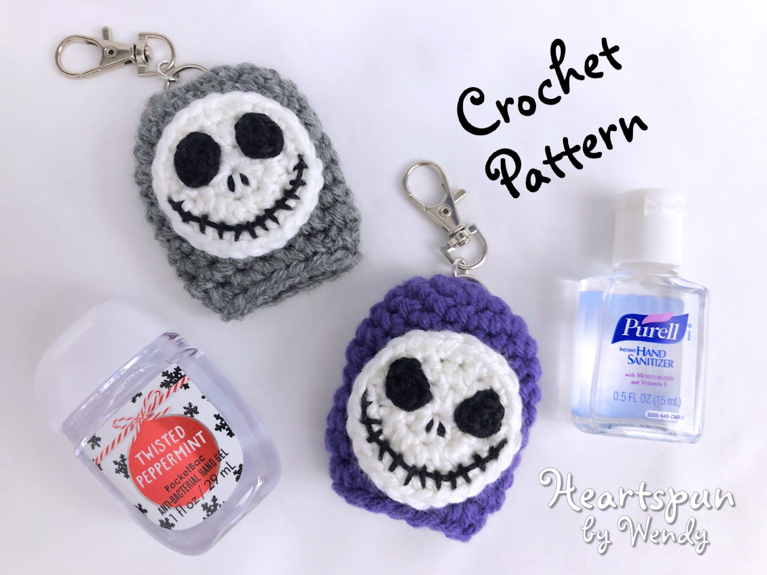 Crochet Pattern For You To Make A Jack Skellington Hand Sanitizer