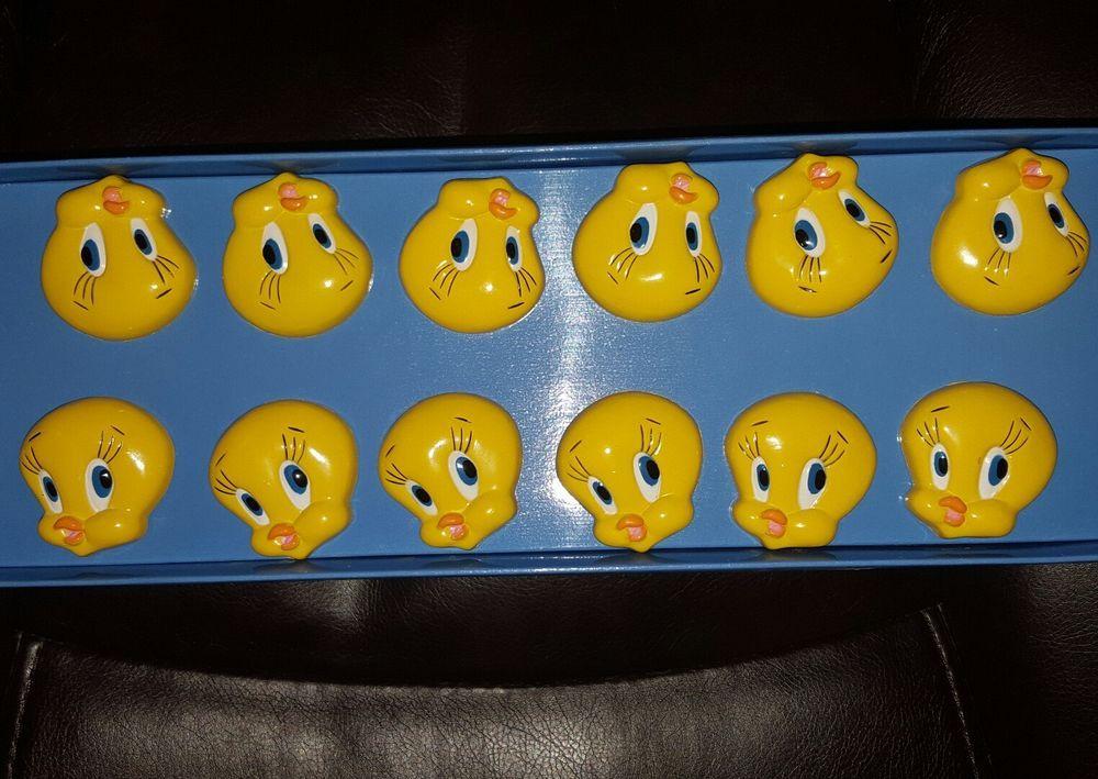 VTG 1998 Tweety Bird 12 Shower Curtain Hooks Looney Tunes WB Bath Set Accessory JayFranco