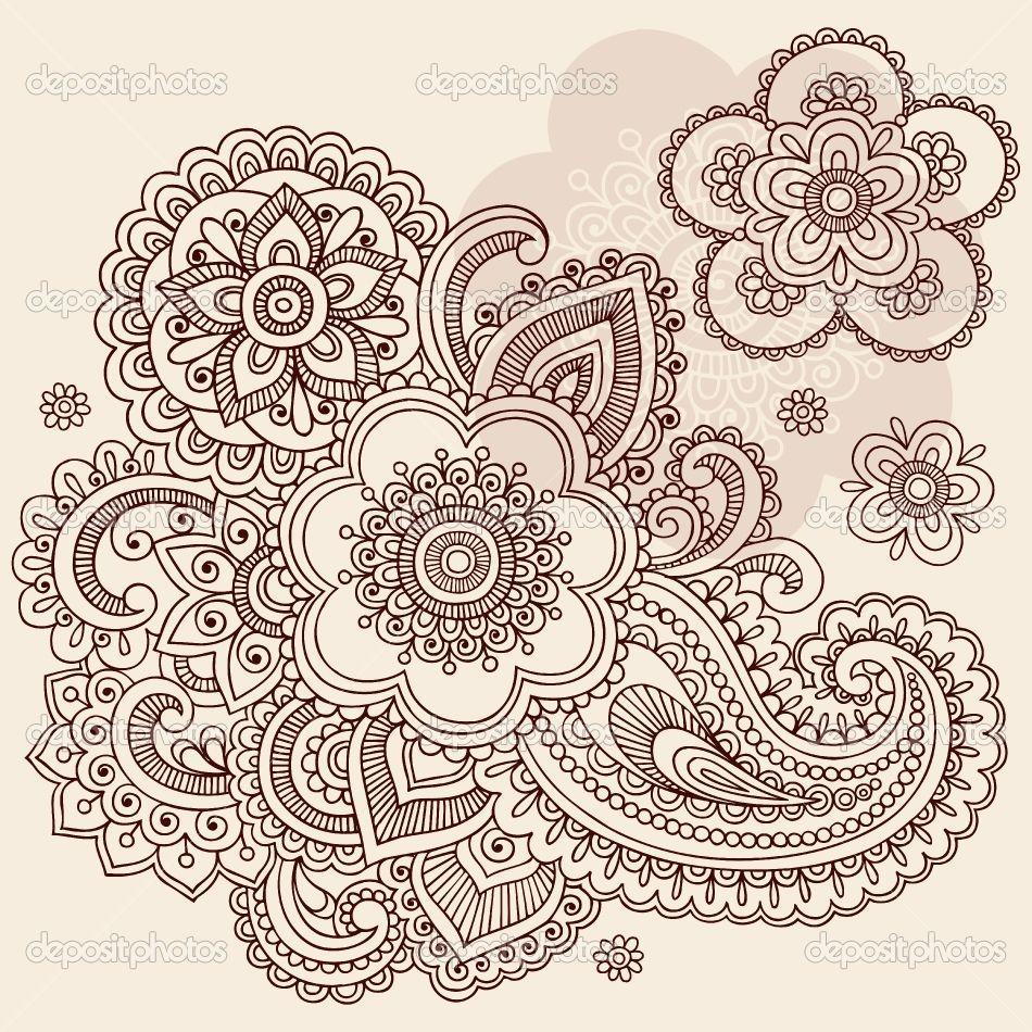 Mehndi Patterns Vector : Henna patterns mehndi paisley flowers doodle