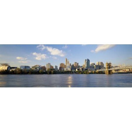 Buildings at the waterfront Ohio River Cincinnati Ohio USA Canvas Art - Panoramic Images (36 x 12)