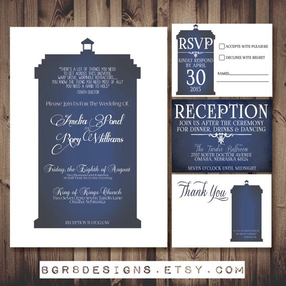 Doctor Who TARDIS Wedding Invitation Set White   PRINTABLE DIY (perfect  Invite For Dr Who