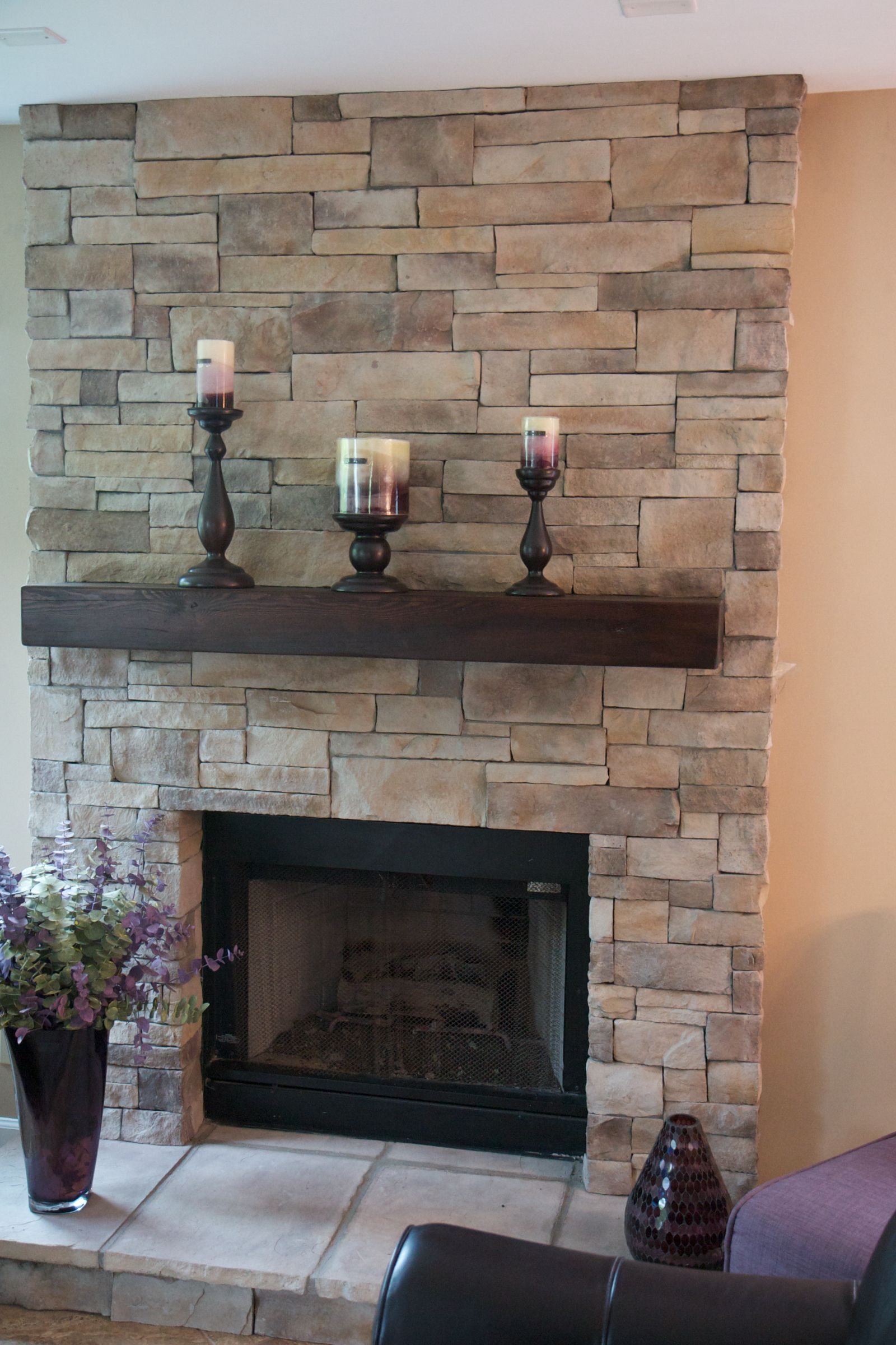 ledge stone fireplace. This style of ledge stone can be installed with dramatic results or  without a mortar