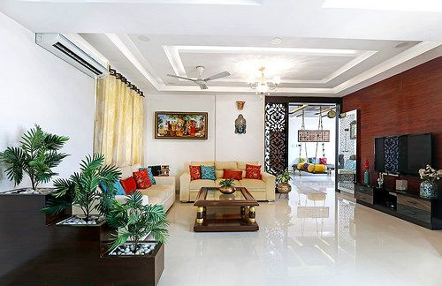 This Hyderabad Apartment Is A Delicious Blend Of Indian Heritage And Contemporary Design Dress Your Home Hall Interior Design Indian Interior Design Modern Living Room Interior