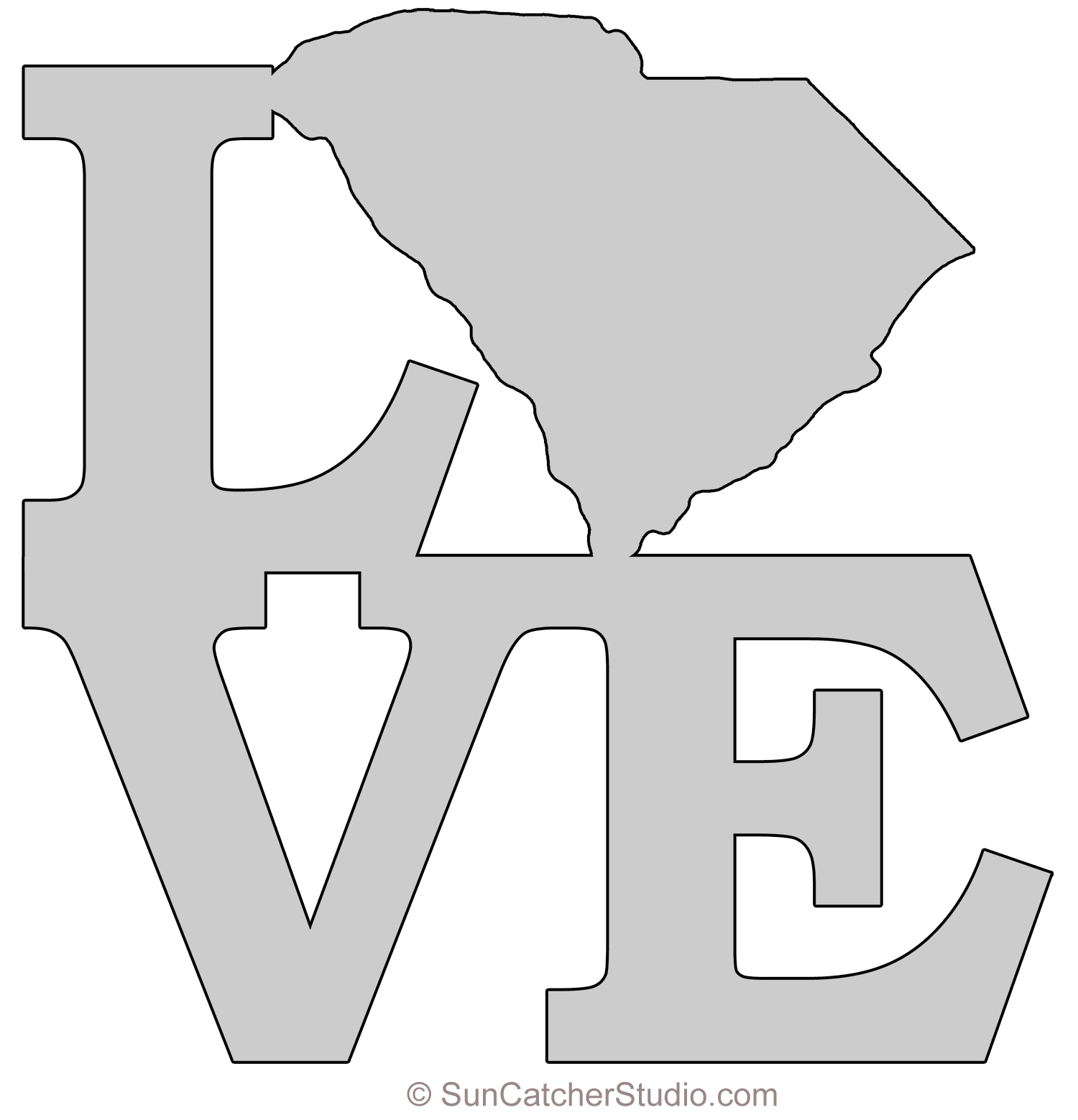 South Carolina Map Outline Printable State Shape Stencil