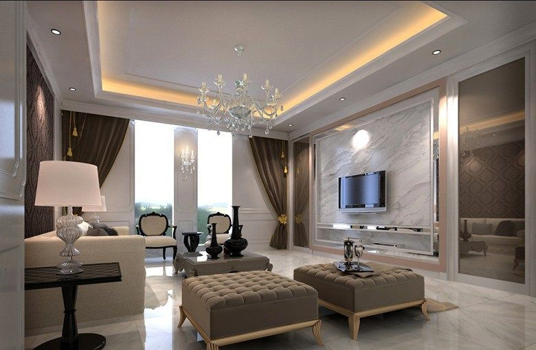 Beautiful Living Hall Design With Ceiling Lights