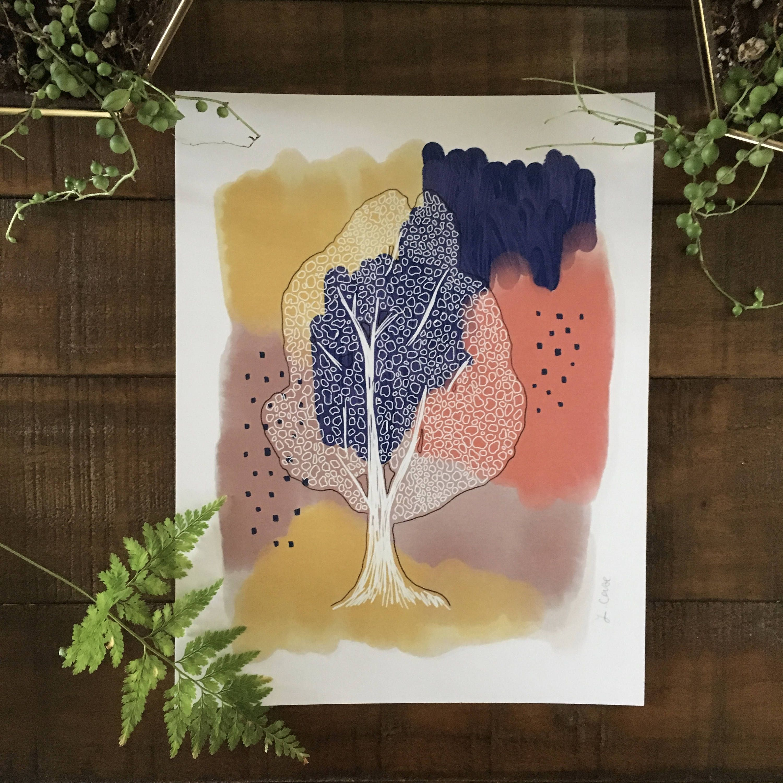 Abstract art print linden tree black plant watercolor