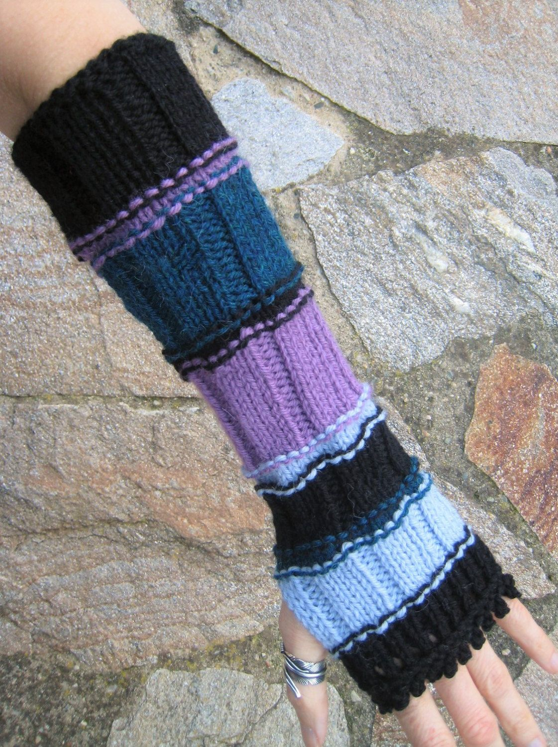 Gothic EMO black striped mittens long fingerless gloves arm warmers ...