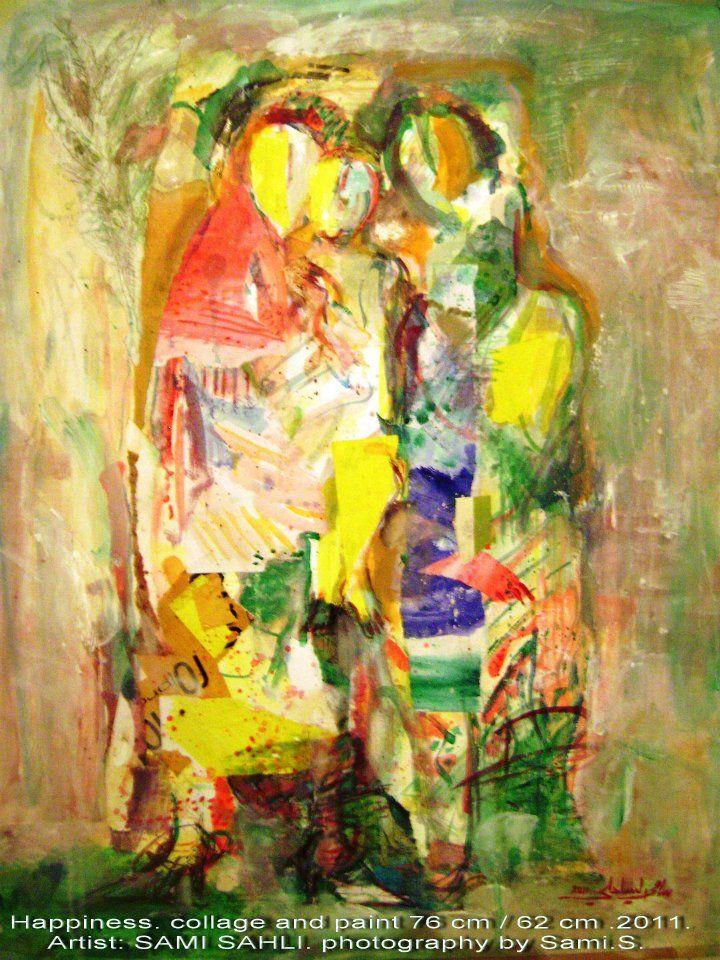 السعادة الكولاج والرسم بتقنيات مختلفة 76 سم 62 سم 2011 Bonheur Collage Et Peinture 76 Cm 62 Cm 2011 De Art Painting Fine Art