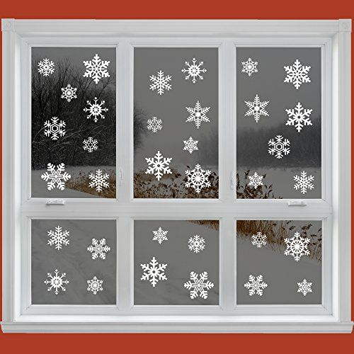 42 original snowflake window clings quick and simple christmas decorations glueless pvc stickers articlings http www amazon co uk dp b005m4smli ref