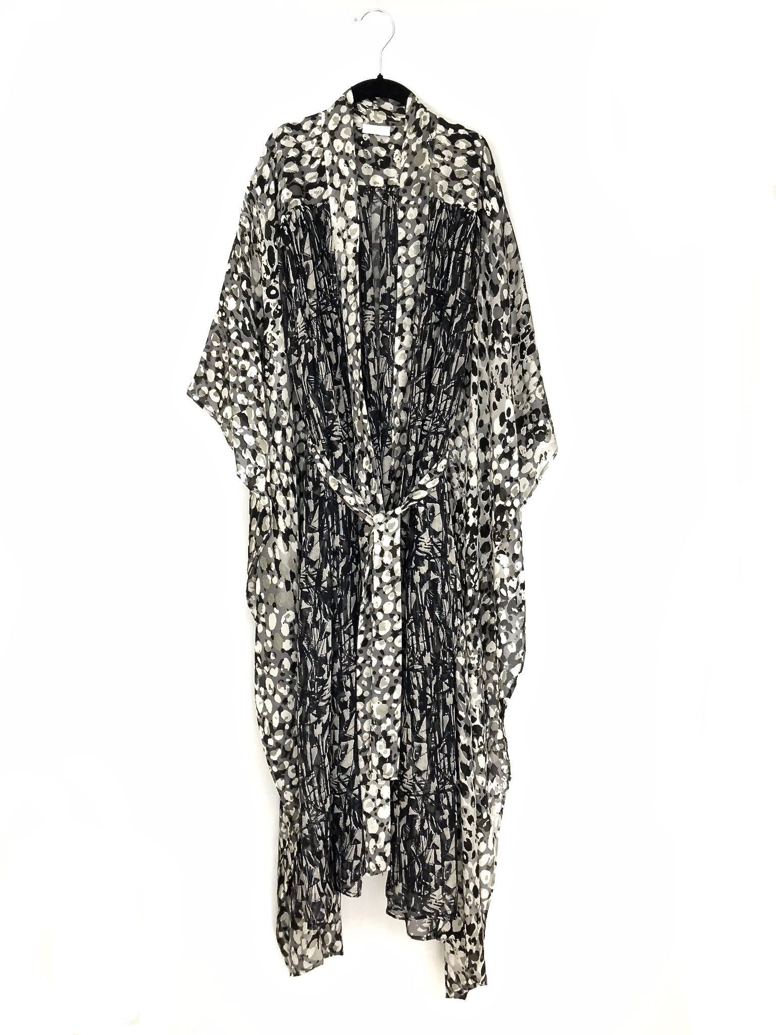 Silk kimono robe, silk beach cover up, full length robe