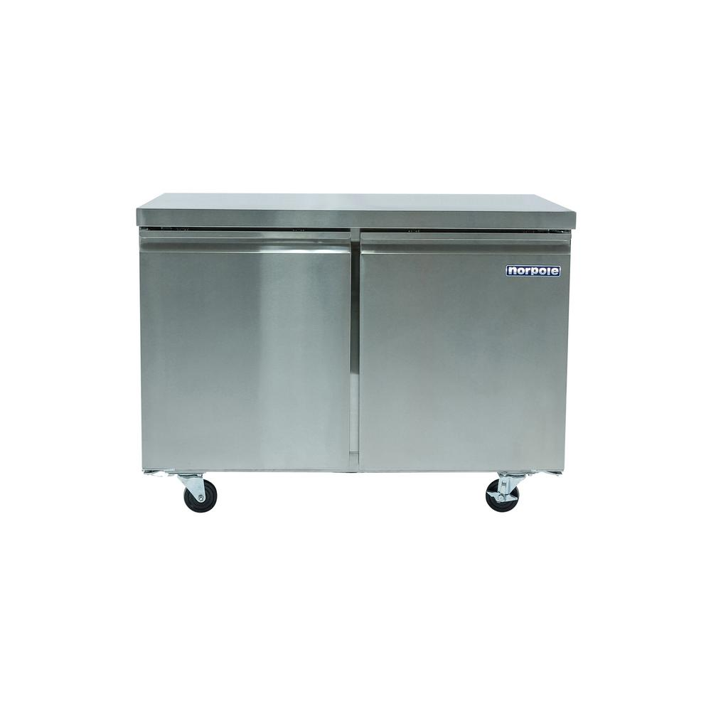Norpole 2 Door 12 Cu Ft Commercial Under Counter Upright Freezer In Stainless Steel Np2f 48uc Upright Freezer Locker Storage Stainless Steel