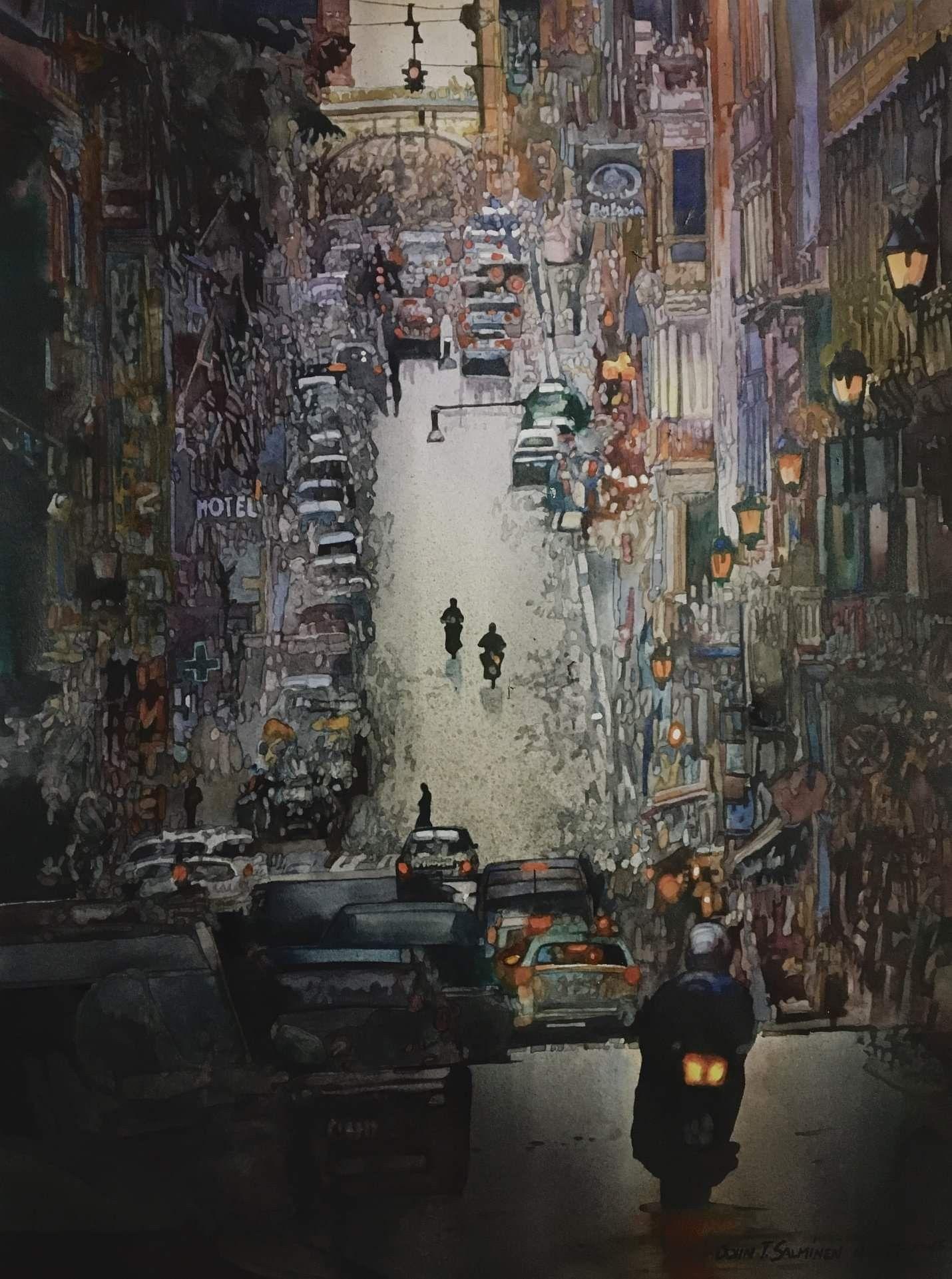John Salminen Cityscape Painting Cityscape Watercolor Art