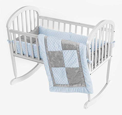 Baby Doll Bedding Croco Minky Cradle Bedding Set Bluegrey To