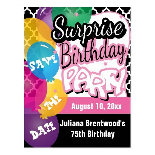 Surprise Birthday Party in Pink Save the Date Postcard Surprise