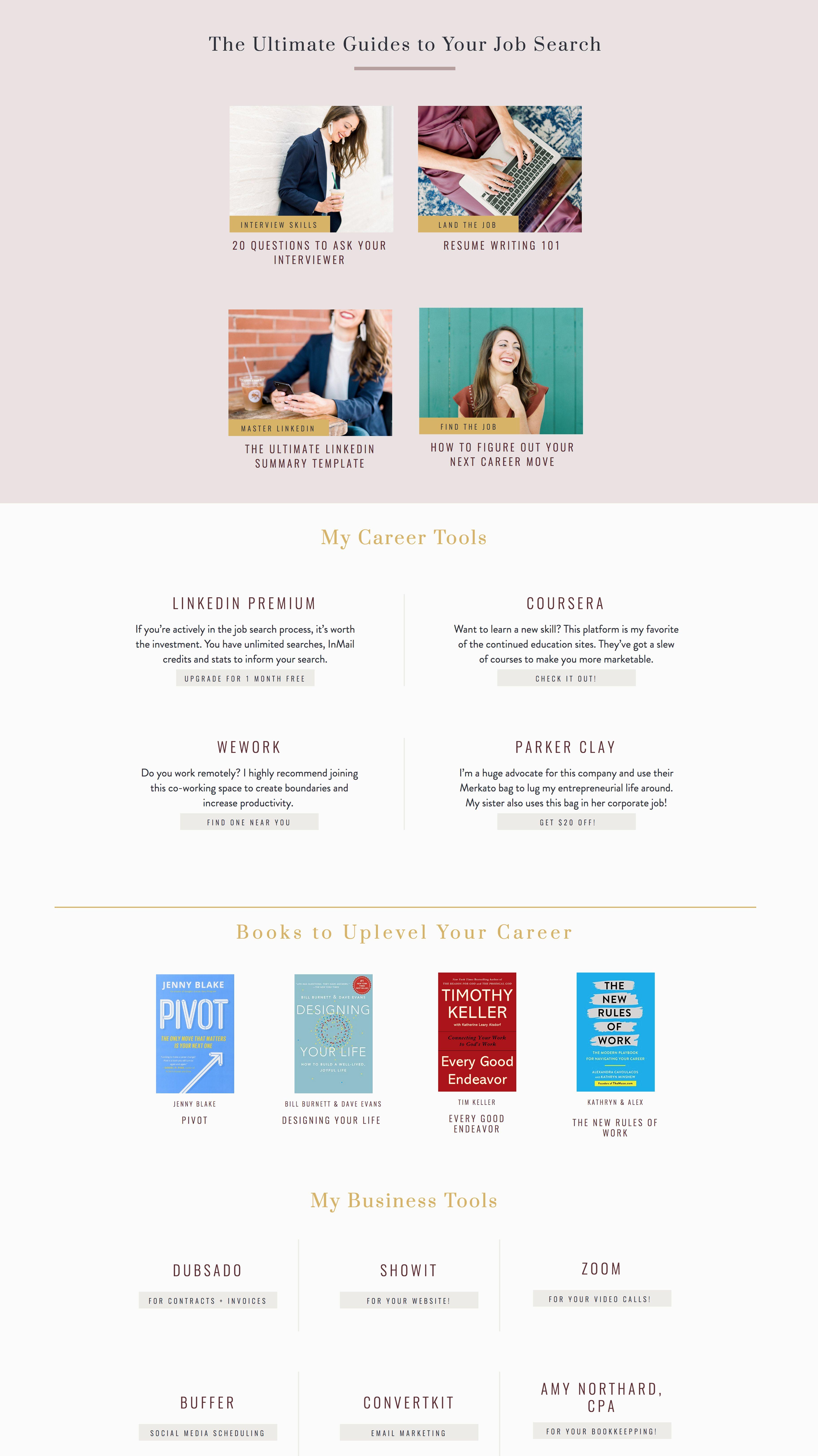Resources Website Page Design For Successful Business And Career Coach Elizabeth Mccravy Designs Life Coach Websites Branding Website Design Website Branding