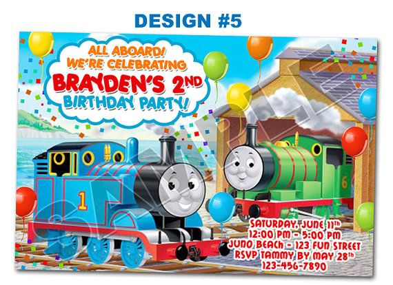 Thomas the Train Tank Birthday Party Photo Invitations 1st First Boy