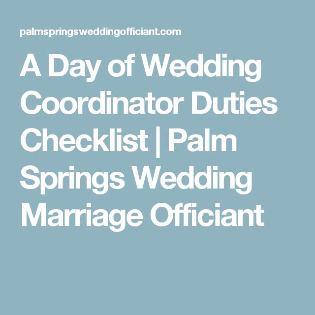 a day of wedding coordinator duties checklist palm springs wedding