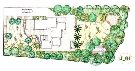 Dise o de un jard n arquitectura del paisaje pinterest for Planos de jardines