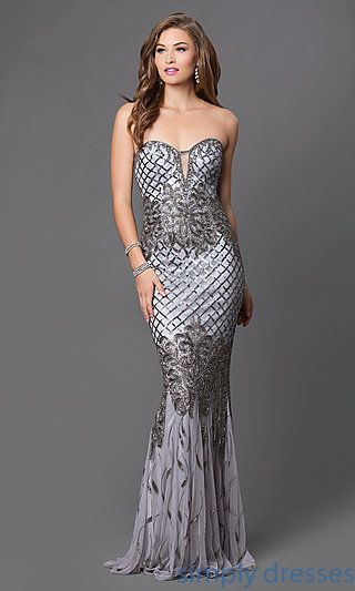 Silver, Charcoal Gray Prom Dresses | Haute look | Pinterest | Prom ...