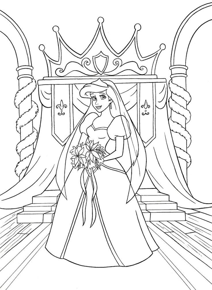 Walt Disney Coloring Pages Princess Ariel Wedding Dresses Rhpinterestca: Disney Princess Coloring Pages Ariel In A Dress At Baymontmadison.com