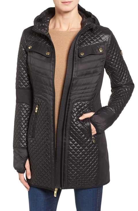 b2e2a2296ea MICHAEL Michael Kors Mixed Media Hooded Zip Front Coat   coats ...