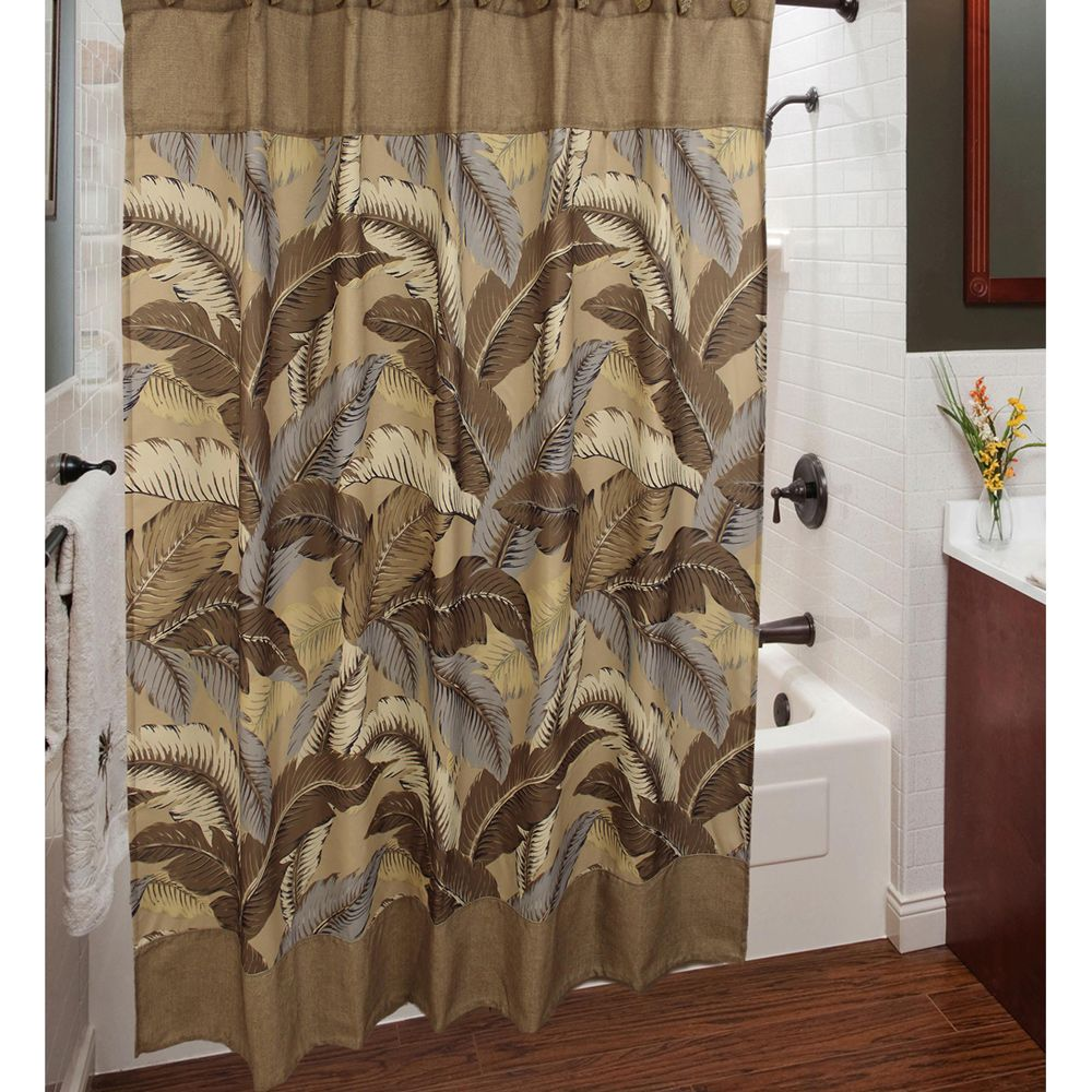 Decorative peacock shower curtain with curtains with a leaf motif