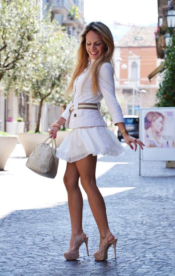 Oasap Candy skater skirt and Zara blazer outfit in white summer 2013 fashion blogger It-Girl by ...
