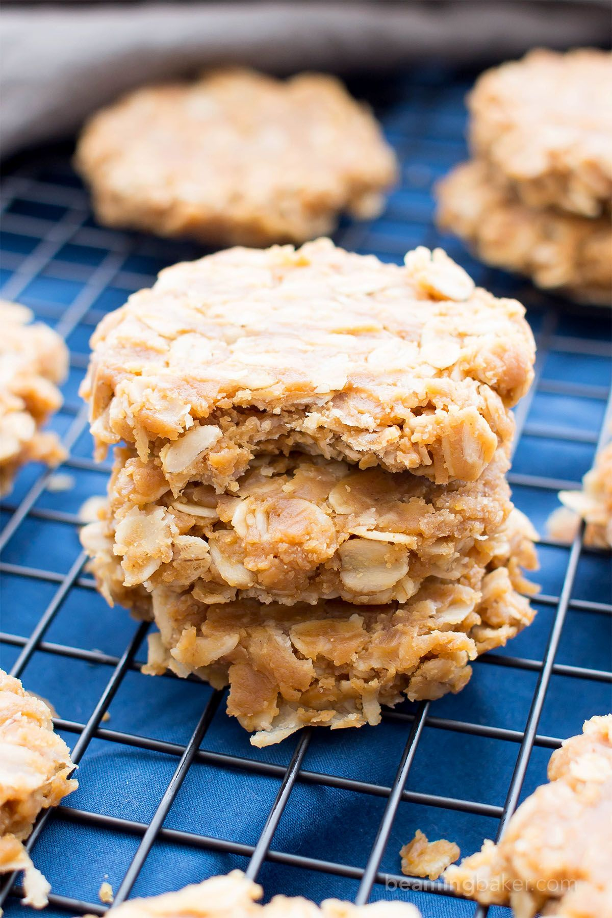 3 Ingredient No Bake Peanut Butter Oatmeal Cookies V Gf Df A