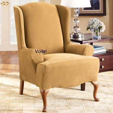 WING CHAIR Slipcover Stretch Pique Antique Gold Sure Fit Wingback Slip Cover