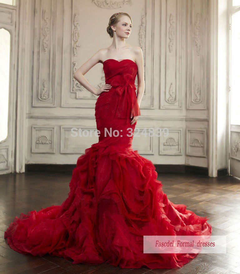 Jolie Rouge Robe De Mariée Sirène Robe De Bal Robe De Soirée