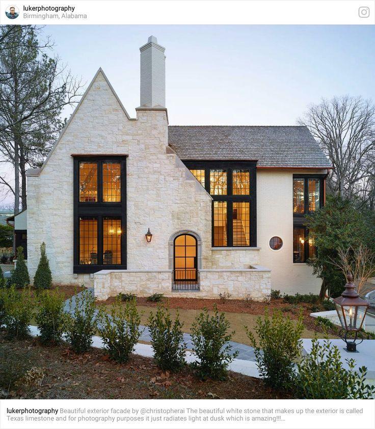 Black windows with white body futurehomeappliances stone exterior tudor house home also future rh pinterest