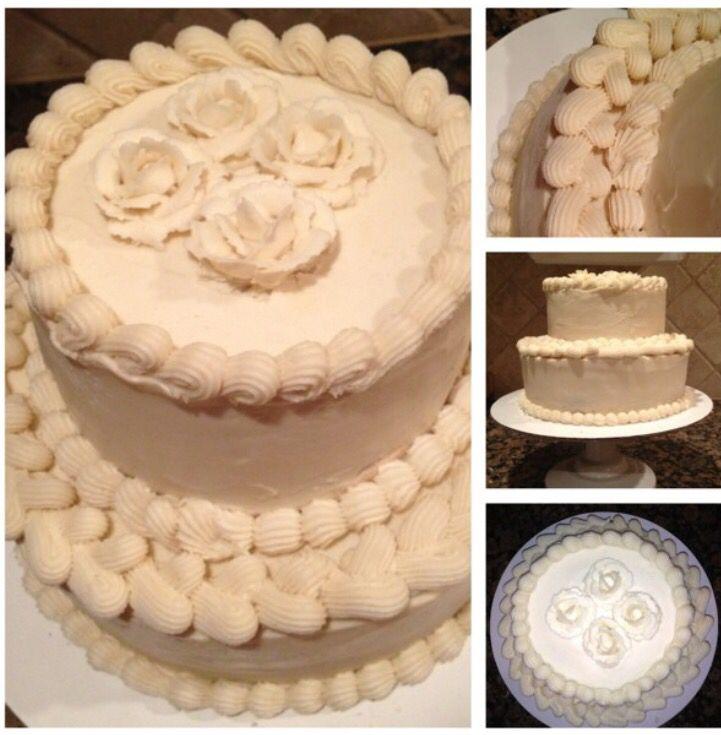 Almond, raspberry filling, white chocolate buttercream. Mia's bridal shower.