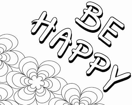 Quote Coloring Page Be Happy Coloring Page Happy Word Coloring