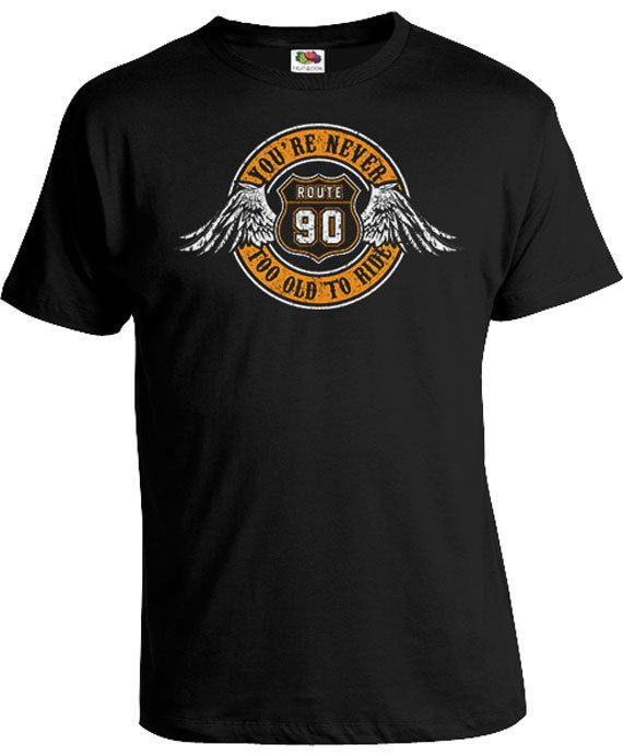 90th Birthday T Shirt Gifts For Grandpa Motorcycle 90 Years Old Route Youre Never Too To Ride Mens Tee DAT 373