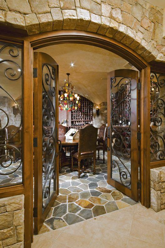 beautiful stone entry to wine cellar