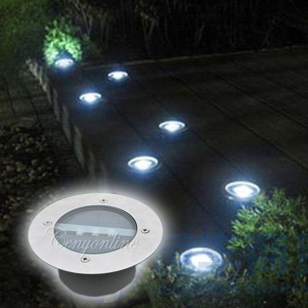 3LED Lampe Solaire Souterrain Inoxydable Jardin Cour Exterieur Eclairage Lumiere  luminaire
