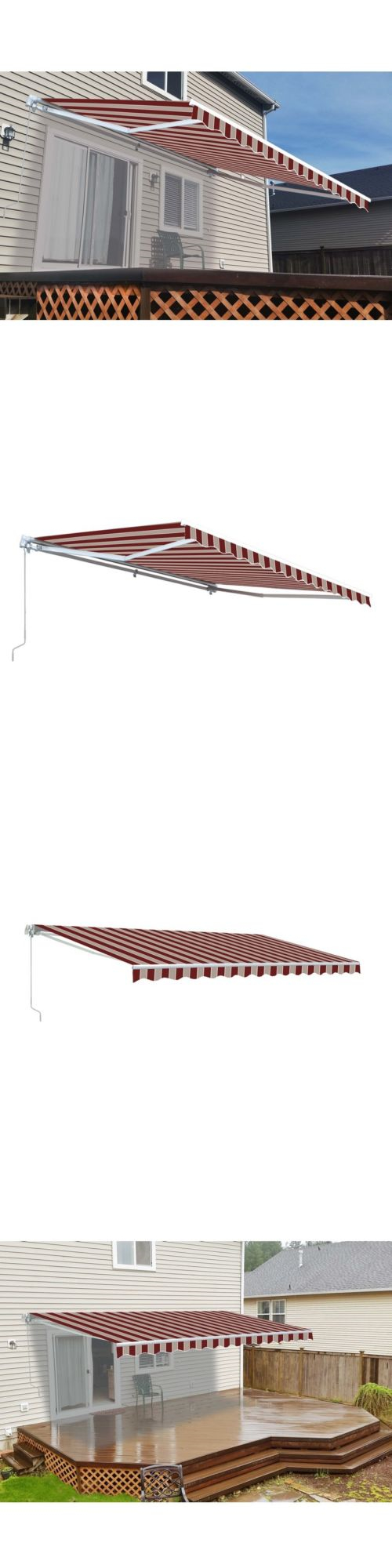 Awnings And Canopies 180992: Aleko Retractable Patio Awning 10 X 8 Ft Deck  Sunshade Multistripe