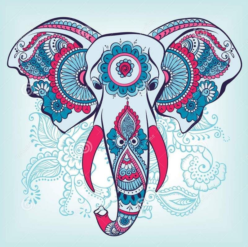 colorful indian elephant head on blue batterned background ...