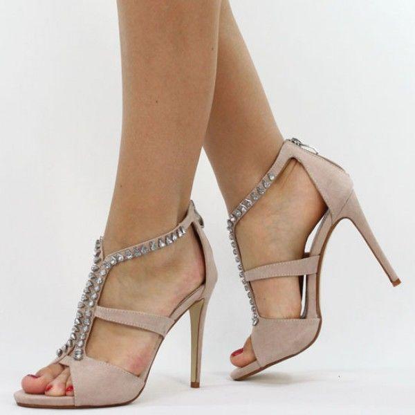 Sandalette Beige Heels Strass High B8950Shoes Nude Pumps Jumex UpVqSMz