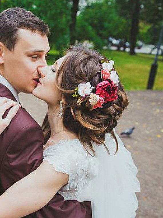 Bridal Flower Crown Boho Wreath Bohemian Wedding Hair Accessories Burgundy Peony Creamy And Roses