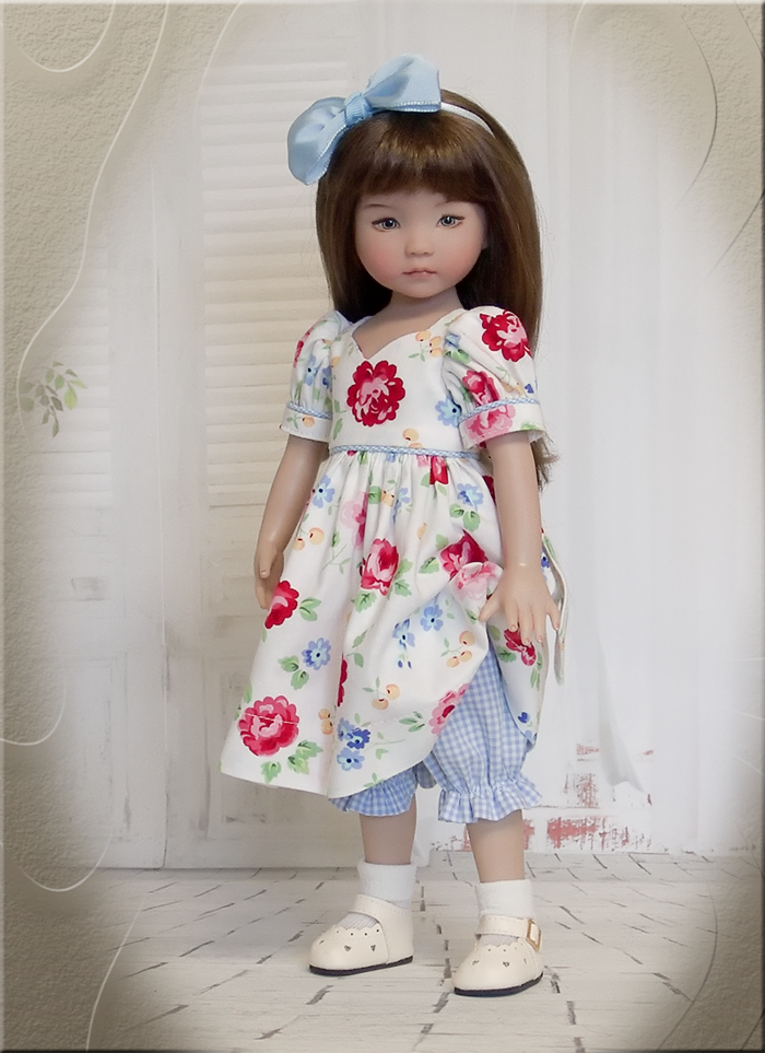 Pretty Spring Floral Doll Outfit for 13 Dianna Effner Dolls, 14 Madame Alexandra Dolls, and 14 Betsy McCall
