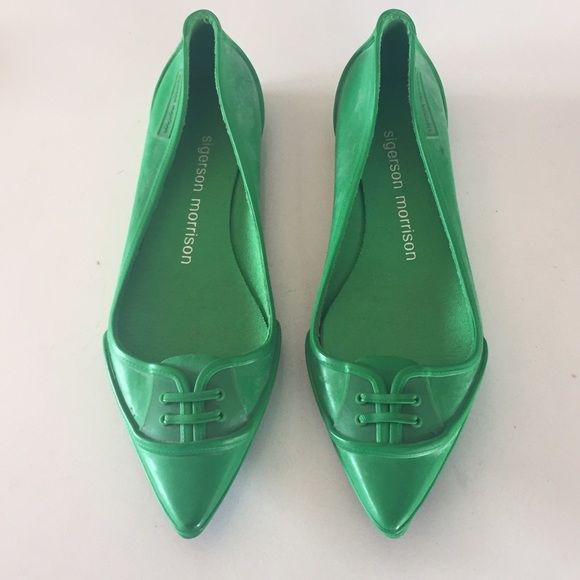 100% guaranteed online Sigerson Morrison Rubber Pointed-Toe Flats clearance how much free shipping big discount 8QeOT5