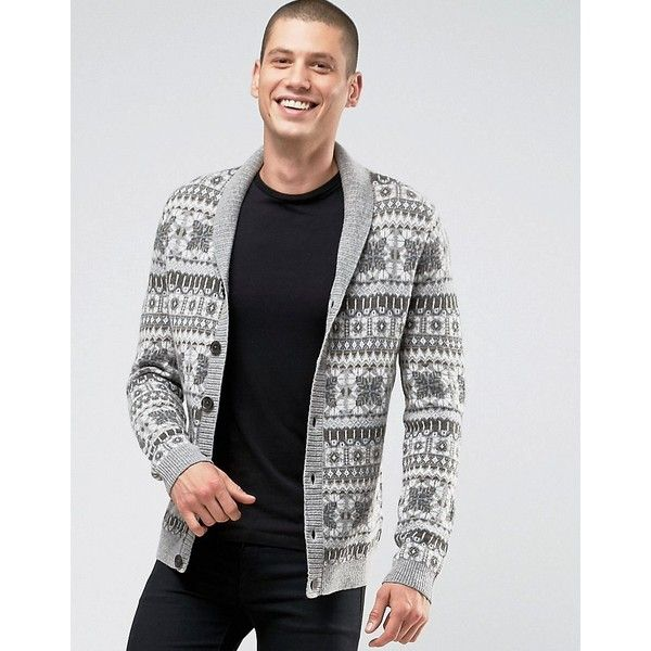 ASOS Lambswool Rich Shawl Cardigan with All Over Fairisle (€57 ...