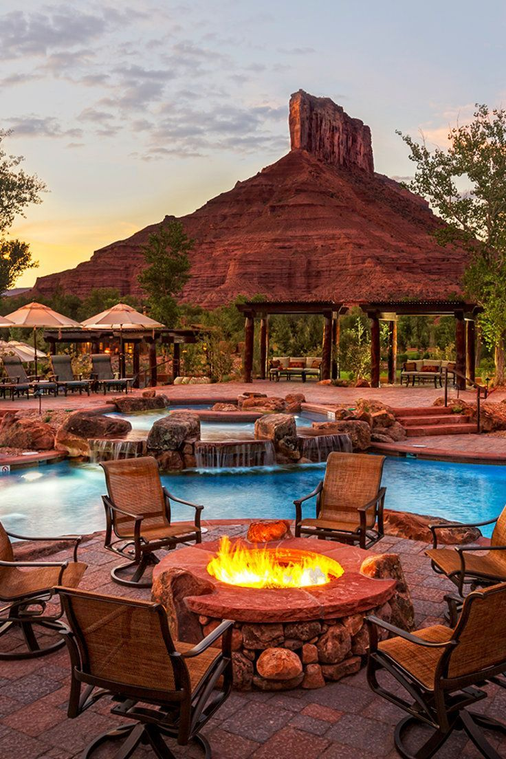 Gateway Canyons Resort, A Noble House Resort - Gateway, Colorado - Cozy up by the outdoor fire pit after an afternoon of swimming. #travel #honeymoon #vacation #vacay #traveltips