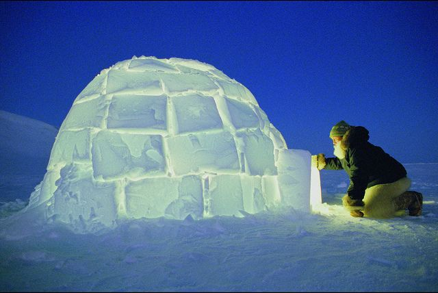 Igloo at night, Greenland | Igloo images, Igloo, Igloo building